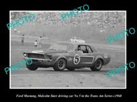 OLD LARGE HISTORIC PHOTO OF MALCOLM STARR DRIVING HIS FORD MUSTANG 1968 1