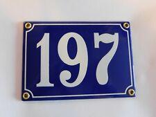 Antique French Blue  Genuine Enamel Porcelain House Door Number Sign / Plate 197