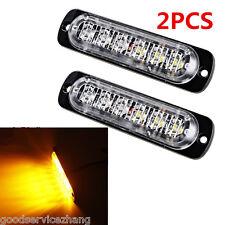 2PCS 18W Super Bright Amber 6LED Flash Emergency Hazard Warning Strobe Light Bar