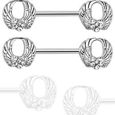 "Pair 14g 1/2"" Shaft Round Angel Wings with Clear C.Z. Nipple Rings Barbells"