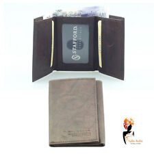 Mens Brown Genuine Leather Trifold Stafford Essentials Wallet - ST014