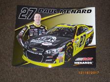 2017 PAUL MENARD #27 ATLAS DESIGNER SHINGLES NASCAR POSTCARD