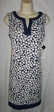 Amanda Lane navy/white polka dot shift career sundress 10 NWT