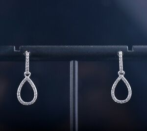 Solid 14K White Gold Pave 0.3CT Natural Diamonds Teardrop Dangle Earrings L20mm