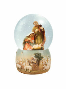 Nativity Scene Snow Globe Christmas Decoration 10cm Hand painted