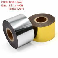"2 Rolls Hot Foil Stamping Paper Heat Transfer 1.5"" x 400ft Leather PU Embossing"