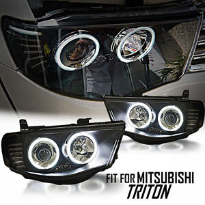 Black CCFL Projector Pair Headlight For Mitsubishi Triton L200 MN ML 2005-2014