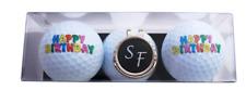 """Geschenk-Set: 2 Golfbälle """"HAPPY BIRTHDAY"""" und Cap-Clip mit Namen oder Initialen"""