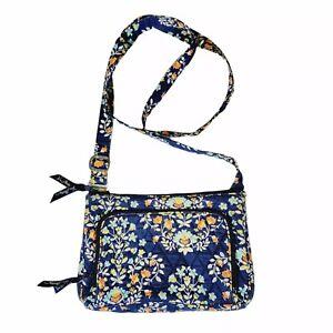 Vera Bradley Floral On The Go Crossbody Handbag Purse Navy Blue Pink VB3