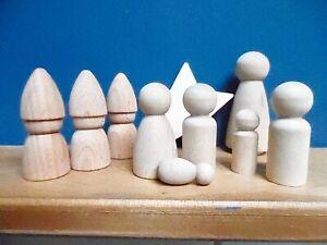 Peg Doll Nativity Set 3 Kings, Shepherds, Angel , Star, Mary, Joseph, Baby Jesus