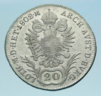 1802 A AUSTRIA w Emperor Franz II Genuine Silver 20 Kreuzer Austrian Coin i82974