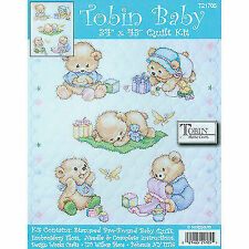 Tobin Home Crafts T21705 Baby Bears Quilt Kit 36x43 Stamped Cross Stitch