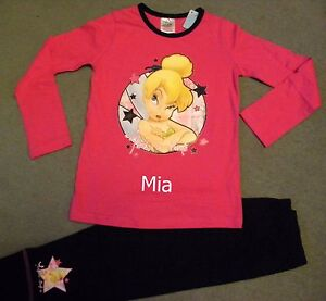 Personalised Disney Tinkerbell pyjamas age 5 - 12 years embroidered with a name