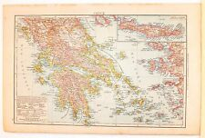 Carta geografica antica GRECIA GREECE Creta Candia 1880 Old antique map