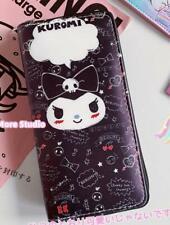 kuromi black evil purse wallet card unisex bag handbag fold zip wallets anime