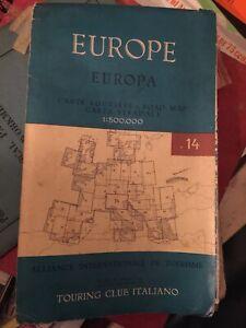 Vintage Europe 14 Carte Routiere Italian Map - Motorway, Folding -