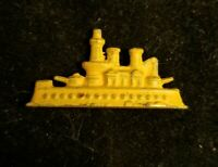 Vintage YELLOW Metal Battle Ship Cracker Jack, Gumball, Monkey Charm Prize 22
