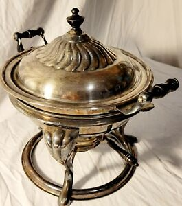 Old Antique Vintage Ornate Silver Plate Tripod Chafing Dish Stand 1898 Gel-Fuel