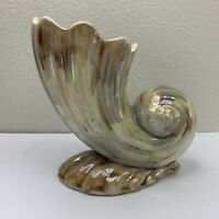 """Vintage Mingay Vase Pottery Shell Shaped Lustre 6"""" tall flaw"""