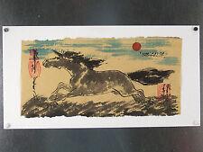 MONGOLIE ! dessin original signé sur papier de riz, CHEVAL AU GALOP