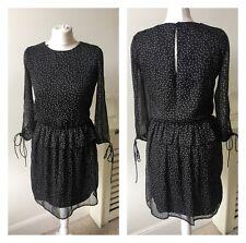 Zara Black White Pin Star Gallexy Blouson Frill Split Sleeve Dress Sz M 12