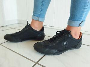 POLLINI Premium Damen Sneaker 41,5 42 Leder & Lederfutter schwarz gt Zst NP 189€