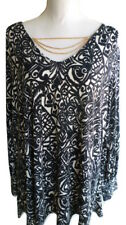 NY Collection Womens Plus 2X Black Printed Chain Long Sleeve Blouse Top Shirt 2X
