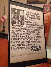 "BIG 11X17 FRAMED MOUTH AND MACNEAL ""HOW DO YOU DO?"" LP ALBUM CD 45 PROMO AD"