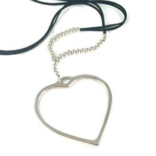 Long Pendant Necklace | Heart Pendant | Silver Beads | Black Suede Strand