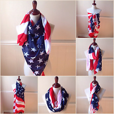 Memorial Day Women's American Flag Scarf Large Wrap Stars & Stripes USA Shawl