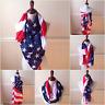 Memorial Day Women's American Flag Scarf Large Wrap Stars & Stripes USA Shawl