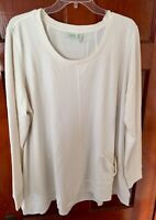 LOGO Lounge by Lori Goldstein Ivory Ecru Boat Neck Soft Artsy Tunic Top XL