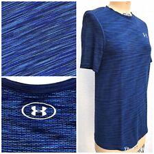 Under Armour Men's Small Threadborne Seamless Ss T-Shirt Blue Cycling Jersey