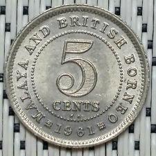 *HIGH/SUPERB Grade* 1961KN - Malaya - 5 Cents Elizabeth II #CBRW