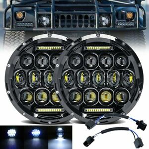 Pair 7inch Round LED Headlights Hi/Lo Beam DRL Headlamp for Hummer H1 H2 Offroad