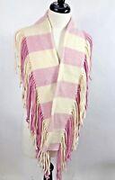 Rare Burberry London Womens Merino Wool Cashmere Fringe Muffler Scarf Pink/White