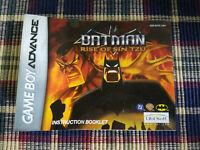 Batman Rise of Sin Tzu - Authentic - Nintendo Game Boy Advance - GBA Manual Only