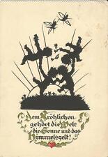 Fröhliche Kinder, Schattenbild, Scherenschnitt, Plischke Künstlerkarte um 1930