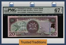 TT PK 49a 2006 TRINIDAD & TOBAGO CENTRAL BANK 20 DOLLARS PMG 67 EPQ SUPERB GEM!