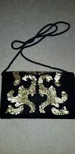 "Black & gold clutch bag. 8"" x 5""Velvet & sequines"