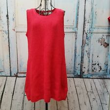 Newport News Women's Knit RED Sweater Dress Soft Cotton Blend Sleeveless Size L