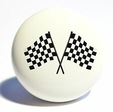 RACING 2 CHECKERED FLAGS HOME DECOR CERAMIC KNOB DRAWER CABINET PULL