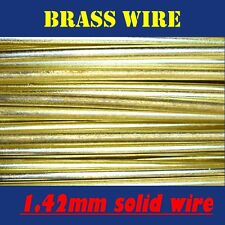 10 METRES SOLID BRASS WIRE, 1.42mm = 17G SWG = 15G AWG UNCOATED AND BARE
