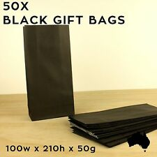 50 X Black Paper Lolly Loot Bags Small Craft Flat Party Wedding Gift Bag