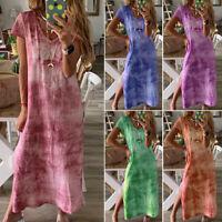 Plus Size Womens Summer Beach Long Maxi Dress Tie-Dye Full Length Shirt Dress
