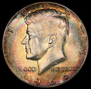 MS64 1966 50C Kennedy Silver Half Dollar, PCGS Secure- Rainbow Toned