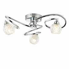 Modern Spiral Chrome Silver 3 Way Ceiling Fitting Light with Cut Glass Shades