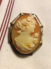 Antique Victorian 14 Karat Gold And Shell Cameo Brooch 7.7 G