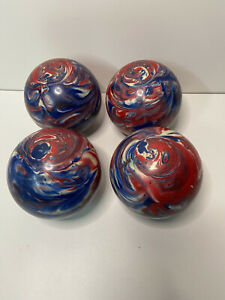4 Paramount Candlepin Bowling Balls 2 Pounds 6 Ounces Red White Blue Swirl USA