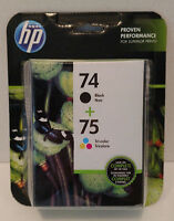 HP 74 Black & 75 Tri-Color Ink Cartridges Combo Pack Brand New 3/2018